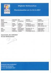 Pfarreirats- und Gemeindeausschusswahl Wahlausschuss